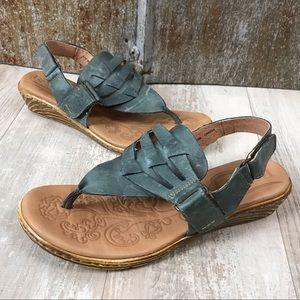Born Karis Blue Woven Leather Sandals Sz. 8